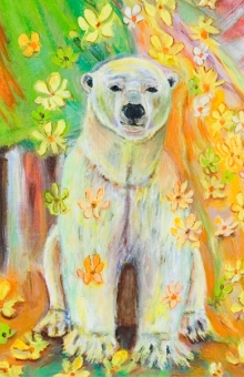 Polar Bear In Flowers (crop) oil