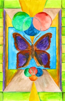 Butterfly Symbol Card 4x7 in. pen