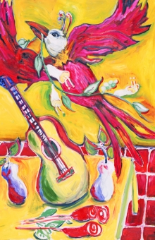 Red Bird Flying 48x35 in. oil