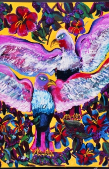 Tropical Eagles In The Hibiscus Garden 60x48 in. acrylic