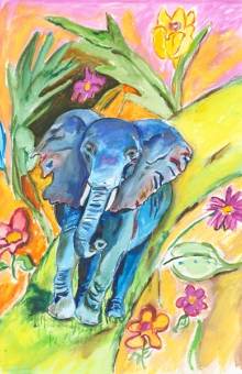 Blue Elephant Walking 14x10 in. watercolor