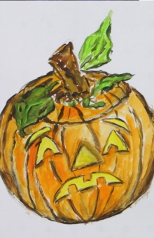 The Sad Pumpkin 10x9 in. watercolor