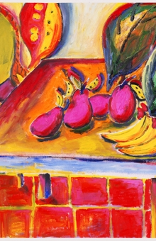 4 Pink Mangos & Bananas 31x47 in.  oil