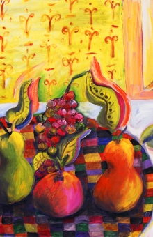 Dancing Fruit on Checkered Plate 30x40 in. oil