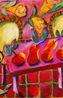 4 Fruit on Pink Table 18x18 in. oil